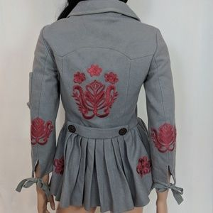 Odd Molly gray wool cute coat w red embroidery